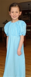 Girl Regency Dress Aqua Blue Floral polyester size S 5 6