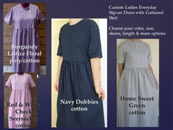 Ladies Everyday Dress with Gathered Skirt in Plaids or Prints all sizes