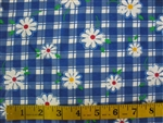 Blue Garden Flowers Cotton Spandex blend Fabric 1/2 yard