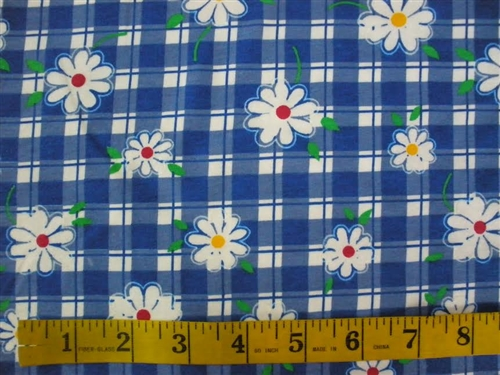 ab3ec88b541 Blue Garden Flowers Cotton Spandex blend Fabric 1/2 yard