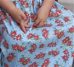 Light Blue Coral Floral Cotton Knit Fabric by the yard