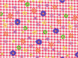 Pink Gingham Flowers Cotton Spandex blend Fabric 1/2 yard