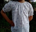 Girl Blouse Peasant Purple Bouquets Floral seersucker size 6