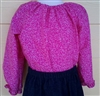 Girl Peasant Blouse Bright Pink Swirls cotton size 4