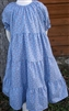 Girl Tiered Dress Periwinkle Blue Floral cotton size 5 X-long
