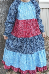 Girl Patchwork Dress Tiered Bandana Blue & Red Floral size 5 X-long