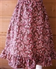 Girl Full Skirt Brown Floral Corduroy cotton with ruffle size S 5 6 7