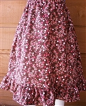 Ladies Full Skirt Brown Floral Corduroy cotton with ruffle size S 6 8