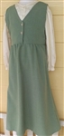 Girl Jumper v-neck Sage green polyester size 7 X-long