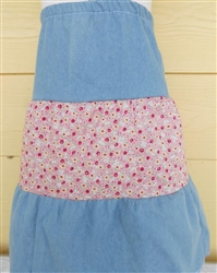 Girl Skirt Tiered Patchwork Denim & Pink floral size XST 2/3