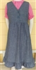 Girl Jumper v-neck with ruffle hem chambray size 7 extra long