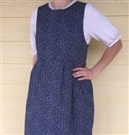 Ladies Jumper Garden navy floral cotton pockets S 6/8 X-long