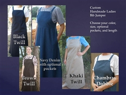 Ladies Denim or Twill Jumper Bib all sizes