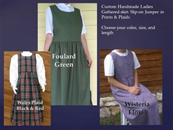 Ladies Jumper in Prints or Plaids with Gathered Skirt all sizes