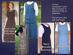 Ladies Jumper in Denim, Polyester, Linen, Twill with A-line Skirt all sizes