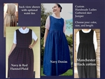 Ladies Jumper Denim & More Fabrics with Gathered Skirt all sizes