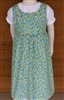 Girl Jumper Gathered Skirt Blue & Green Floral Corduroy size 10 x-long