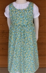 Girl Jumper Gathered Skirt Blue & Green Floral Corduroy size 12 x-long