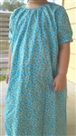 Girl Loungewear Gown Dress Blue Flower Love cotton size XS 3 4