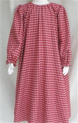 Girl Loungewear Gown Dress Red Plaid Flannel cotton size XS 3 4