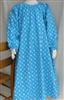 Ladies Nightgown Turquoise Floral Flannel cotton S 6 8