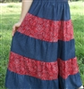 Girl Tiered Skirt Western Patchwork Red Bandana & Navy Denim size M 8 10