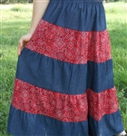 Western Patchwork Red Bandana & Denim Tiered Skirt Girl size S 6 7 X-long