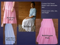 Ladies Skirt 3 Tiered White, Pink, or Yellow Cotton Seersucker all sizes