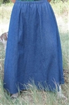 Ladies 6 Gore Skirt Navy Denim S 6/8 X-long