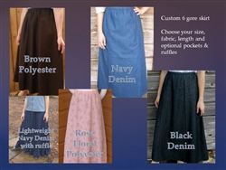 Girl 6 Gore Skirt Lt. Blue or Navy Denim and more S, M, L
