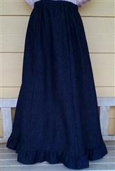 Girl 6 Gore Skirt Med. Weight Navy Blue Denim with Ruffle L 12 14