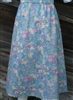 Girl A-line Skirt Light Blue Floral Twill size 12 X-long