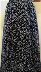 Ladies A-line Skirt Navy Floral Hearts cotton size M 10 12