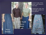 Ladies A-line Skirt Denim or Khaki Twill all sizes