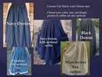 Ladies Full Skirt Blue Jean Denim Khaki Brown S, M, L, XL, 1X, 2X, 3X