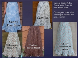 Ladies A-line Skirt in Prints & Florals with Ruffle Custom all sizes