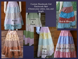 Girl Skirt Tiered Patchwork Custom Prints & Florals