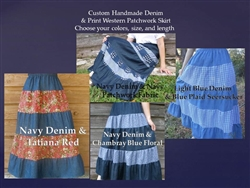 Girl Skirt Tiered Western Patchwork Custom Denim & Prints