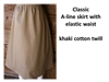 Ladies A-line Skirt Khaki Twill cotton size L 14 16