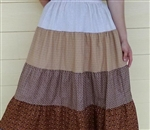 Girl Tiered Skirt Patchwork Brown Floral size S 6 7