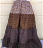 Girl Tiered Skirt Patchwork Brown Floral cotton size M 8 10
