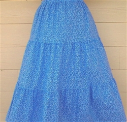 Ladies Skirt 3 Tiered Periwinkle Blue Scroll floral size L 14 16