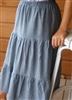 Ladies & Plus Chambray Denim Tiered Skirt all lengths & sizes