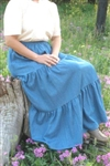 Ladies Skirt 3 Tiered Light Blue Denim S 6 8