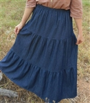 Ladies Skirt 3 Tiered Navy Denim size S 6 8