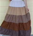 Girl Tiered Skirt Patchwork Brown Floral size L 12/14 X-long