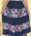Ladies Skirt Tiered Patchwork Navy Denim & Navy Floral cotton L 14 16