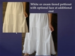 Ladies 3 Tier Slip Petticoat Cotton (lace optional) white, cream, or black all sizes