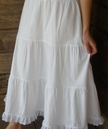 7f8981f5bff74 Ladies 3 Tier Slip Petticoat Cotton (lace optional) white, cream, or black  all sizes