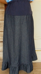 Maternity A-line Skirt with Ruffle Navy Denim M 10/12